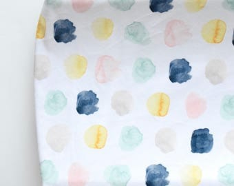 Changing Pad Cover in Watercolor Ink Spots in Navy, Mint, Peach, Yellow & Gray