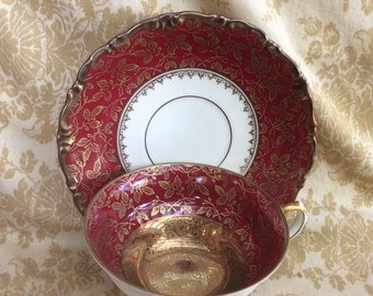 Germany AL-KA Kunst Kronach burgundy and gold gilt tea cup and saucer