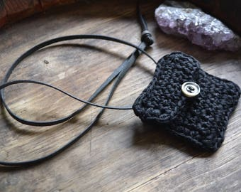 Crystal pouch, necklace pouch, pouch necklace, black crystal pouch, medicine pouch, crochet medicine pouch, black crochet pouch necklace