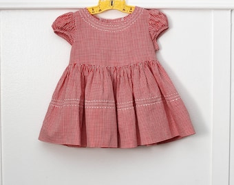 12 Months: Embroidered Red Gingham Dress, Short Puff Sleeves, Full Skirt, Picnic Dress