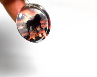 Bulldog silhouette pendant sterling necklace, dog lovers jewelry, silhouette jewelry, bulldog pendant, bulldog jewelry, women's necklace