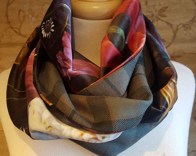 Weathered Mackay tartan and Floral Velvet infinity Scarf