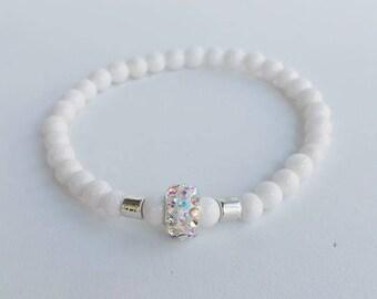 Mens bracelet - Beaded Bracelets - natural stone Bracelet - gift for him - diamond like beads - white man bracelet - mans jewelry - man gift