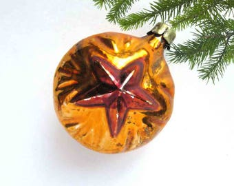 Bauble with Red Star, Rare Soviet Christmas tree decoration, Glass ornament, New Year, Russian Toy, Soviet Union, 1960s