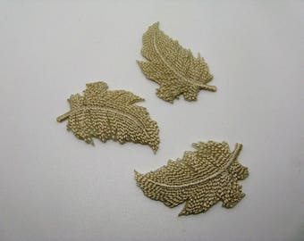 Set of 3 applications heat-sealed badges beige feathers - 6th ref