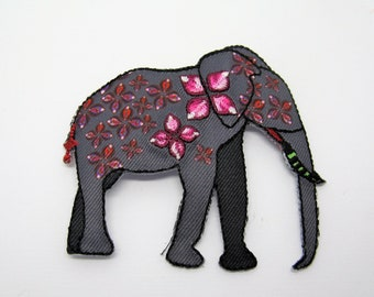 Applying patch embroidered patch pattern elephant-ref 7L