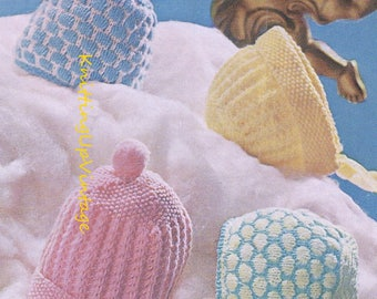 Vintage Knitting Patterns Baby Hats : baby knitting pattern for baby hats and bonnets birth to 9m