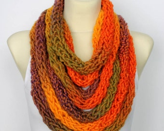 Chunky Knit Scarf Womens Fashion Accessories Knit Infinity Scarf Gift for Her Knit Necklace Unique Handmade Scarves Winter Spring Autumn Mom