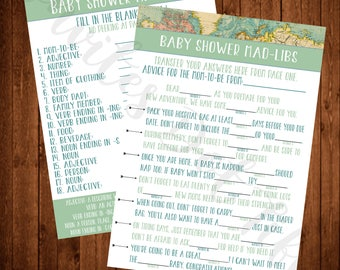 Adventure Themed Baby Shower Mad-Libs Style Game