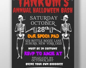 Halloween party invitation, skeleton drinking party invite, modern halloween invite, bar halloween party flyer, adult halloween party