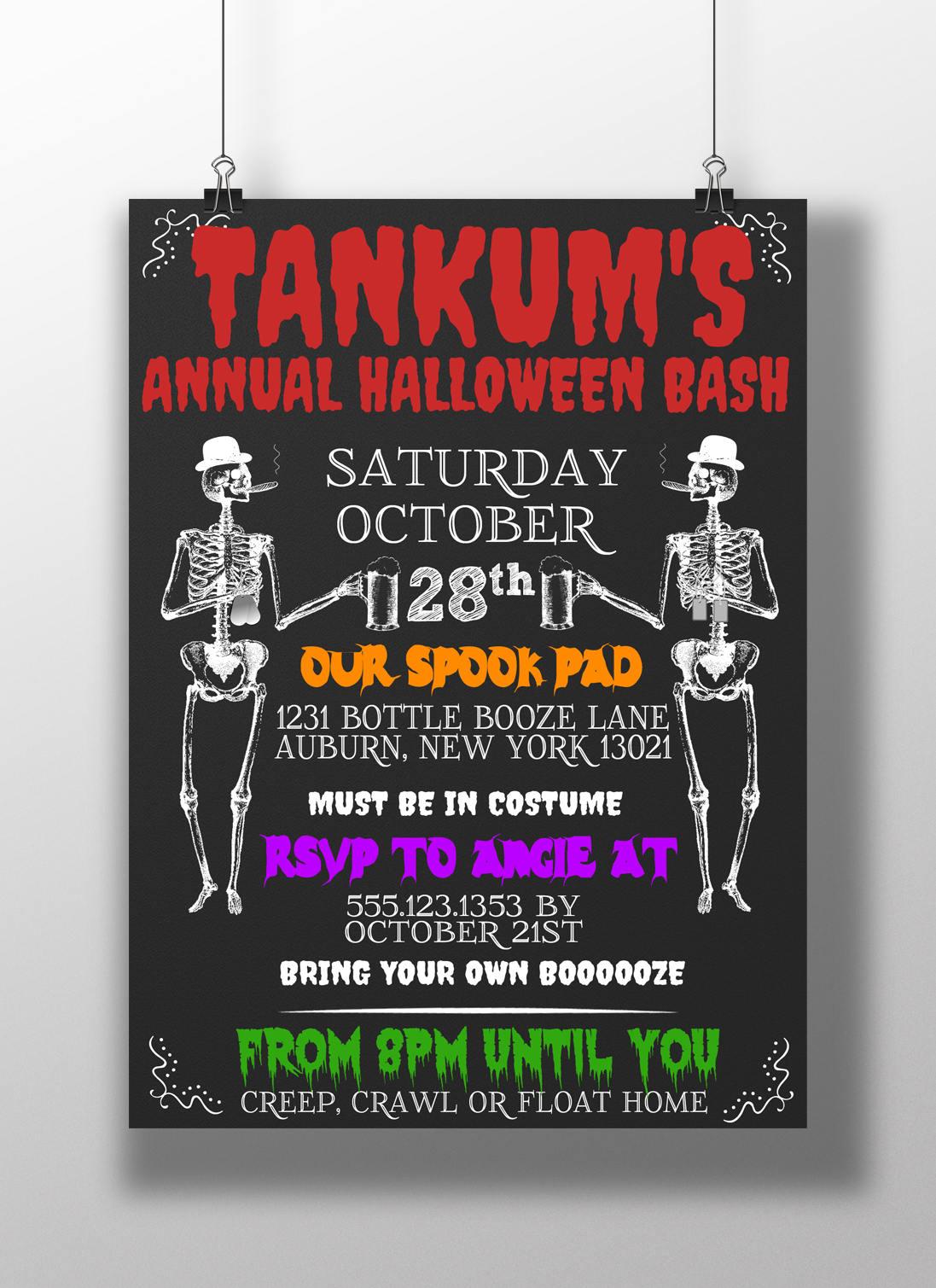 Halloween party invitation, skeleton drinking party invite, modern ...