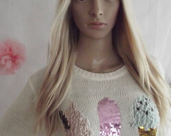 Human hair wig- Prestige range 3/4 U part clip in hairpiece, 18 inches long, blonde mix, xs/s/m/l/xl, 200g/250g