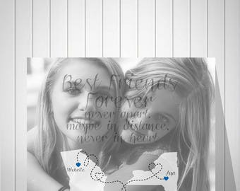 Best Friend Gift Photo Art Print Birthday Gift Sister Gift Long Distance True Friendship Quote Photo To Canvas Gift For Best Friend - 51677