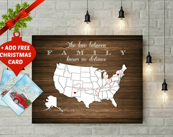 Personalized US Map Wood Art Print, Birthday Gift for Grandma, Christmas Gift True Friendship Map Long Distance Map Gift For Family -47477 3