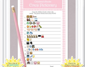 Children's Books EMOJI Pictionary game, Emoji baby shower game in a vintage theme with pink gingham, ANSWERS included, diy Printable, 39BA