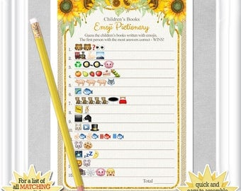 Baby Shower EMOJI Pictionary game with whimsical sunflowers and gold accents, ANSWERS included, diy PRINTABLE, 99BA