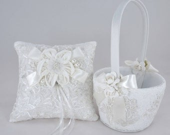 Flower Girl Basket, Ring Bearer Pillow, Wedding Basket, Wedding Basket and Pillow Set, Ivory, Satin, Embroidered Lace