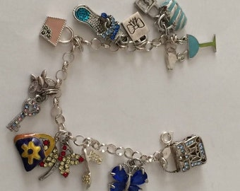 "Sterling Silver Charm Bracelet With 13 Charms 6.5"" Long for Smaller Wrist"
