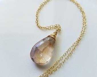 Ametrine Necklace, 14K Gold Ametrine Pendant, Ametrine Gemstone Jewelry, 14K Gold Necklace, Gold Pendant