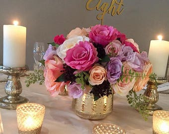 Gold Table Numbers -Wedding table number.