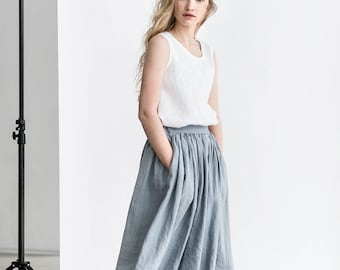 Linen skirt with deep pockets / A - line washed linen skirt in light elephant grey / Midi linen skirt / High waist linen skirt