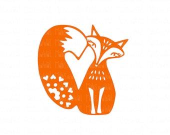 Fox heart svg/png/dxf cutting file/fox svg/fox heart svg/woodland svg/animal svg/heart svg/Silhouette/Cricut/valentine svg/love/love svg/HTV