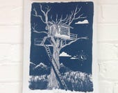 Blue Treehouse Print - Fairytale Nursery Art Print - Navy Blue Tree Print - Childhood Explorer Art - Adventure Art Print - Moon Screenprint