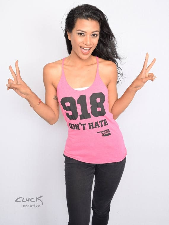 918 DON'T HATE womens racerback tank top - Made with Love in Tulsa, Oklahoma by Pop Artist Steve Cluck - 20% off with coupon code MIMOSA