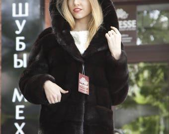 Hooded black mink fur coat model Dalisa