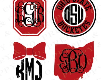 OSU Vinyl Decal - Monogram Ohio State Sticker - Ohio State University