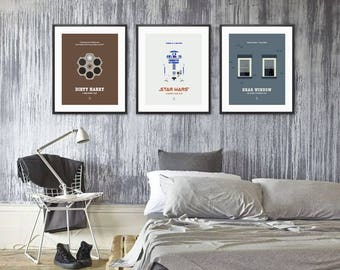 MOVIE POSTER SET - Star Wars Poster, Pulp Fiction Poster, Ferris Bueller, Sixteen Candles, The Godfather Poster, The Shining, Roman Holiday