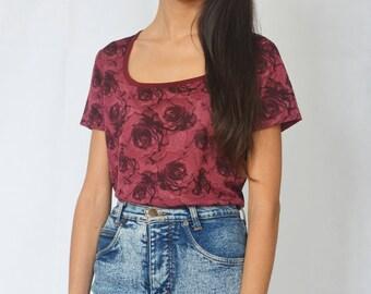 FLORAL ROSEWOOD TEE -top, tshirt, sheer, grunge, 90s, roses, aesthetic, gothic, boho, short sleeve, flowers, red, burgundy-