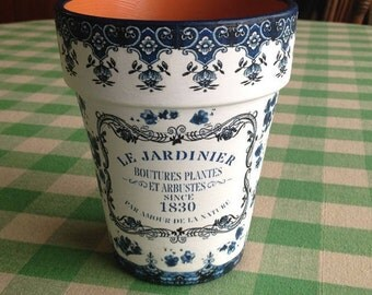 Country Cottage Summer Wedding Flower Planter Cache Pot, Blue and White French Country Planters, Farmhouse, Cottage, Gardener, Wedding Gift