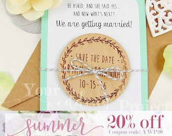SALE 20% OFF - Wreath Save the Date, Custom Save the Date, Engraved Save the Date, Rustic Save the Date, Wood Save the Date Magnet