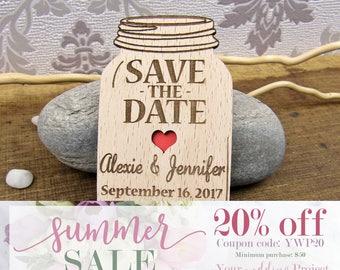 SALE 20% OFF - Mason Jar Save the Date Magnet, Custom Engraved Save the Date, Wood Save the Date, Rustic Save the Date, Wedding Invitation
