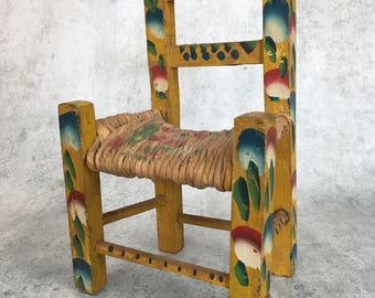 Antique doll size wooden chair, folk art doll chair, handmade miniature chair