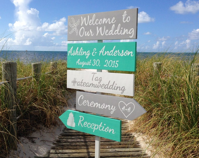 Mint Wedding Welcome Sign, Beach Wedding Decor, Shoes Optional Ceremony Signage, Wedding Gift for Couple