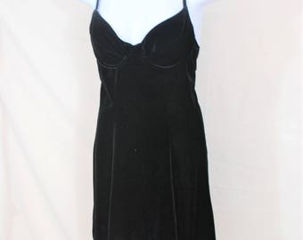 Vtg Bustier Velvet Black Slip Dress | Size Small / Medium