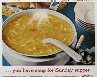 1960 Campbell's Chicken Noodle Soup Advertisment - Campbells Condensed Soup Ads - Retro Food Ads - Campbell's Kids Cartoon