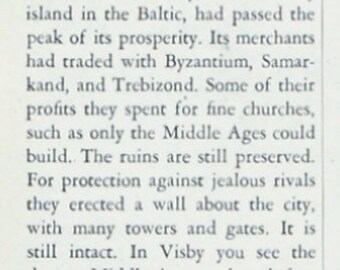 1933 Visby City Wall, Gotland, Sweden Travel Ad - Swedish State Railways Ad - Medieval City, UNESCO World Heritage Site - Vintage Train Ads