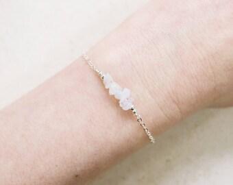 Rainbow moonstone bead bar bracelet - Moonstone gemstone bar bracelet - Delicate dainty moonstone bracelet - June birthstone bracelet.
