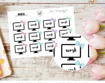 Bow Work Computer Stickers | Work Planner Stickers | Two Dollar Tuesday | Work Icons | Functional Stickers | Bow Stickers | Planner Icons