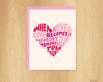 Hand Lettered Memory is a Treasure Sympathy Card, Loss of a Loved One Card, Memorial Card, Grief Card, Loss Card, Sympathy Card