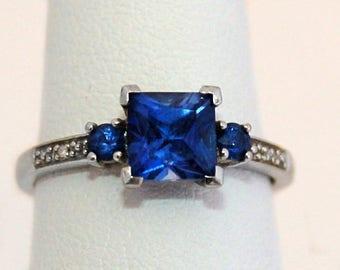 Vintage 10k white gold sapphire diamond classic engagement style ring, elegant RJW gemstones & gold princess bride statement ring, size 7.5