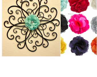Flower Choice for Metal Scroll Wall Art for Home Decor with Satin Flower/Rhinestone Center