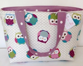 Tote Bag, Owls Zippered Tote Bag, Medium Zippered Bag, Knitting Bag, Crochet Bag, Zip Knitting Bag, Baby Bag, Overnight Bag, Shopping Bag