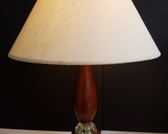 Turned Wood Lamp with Flower Look Glass Detail