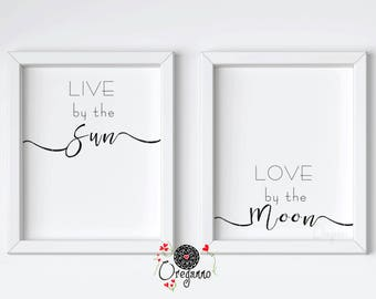Live by the sun Love by the moon print-Boho digital poster-Boho quote printable-Typography Black and white wall art-House warming inspiring
