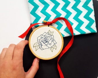 Blue Rose Flower Embroidery Hoop - Twin Peaks, Art, Gift, Present, Detailed, Fiber Art