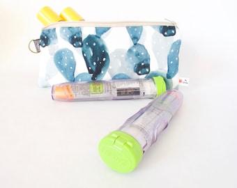 Epipen Case. Cactus Pouch. Allergy Pouch. INSULATED Epipen Bag. Insulated Medical Bag. Medical Travel Bag.Allergy Gift.School Epipen Carrier